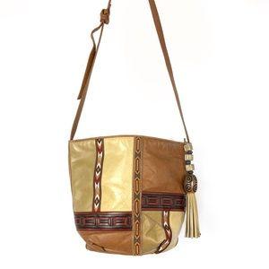Vintage Sharif Aztec Leather Patchwork Crossbody
